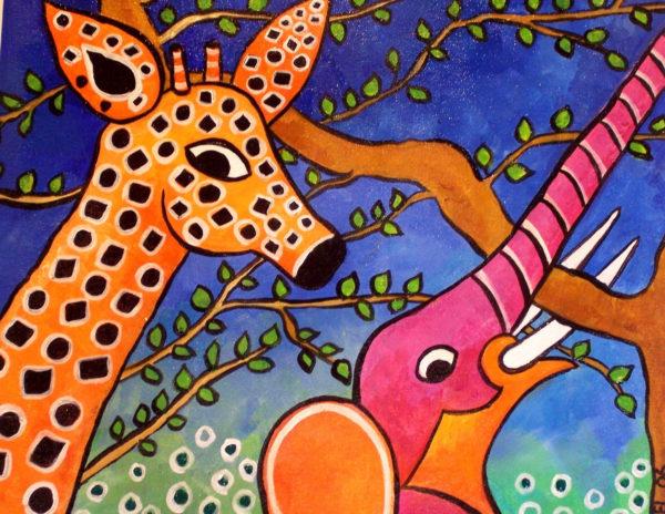Pink elephant and Giraffe