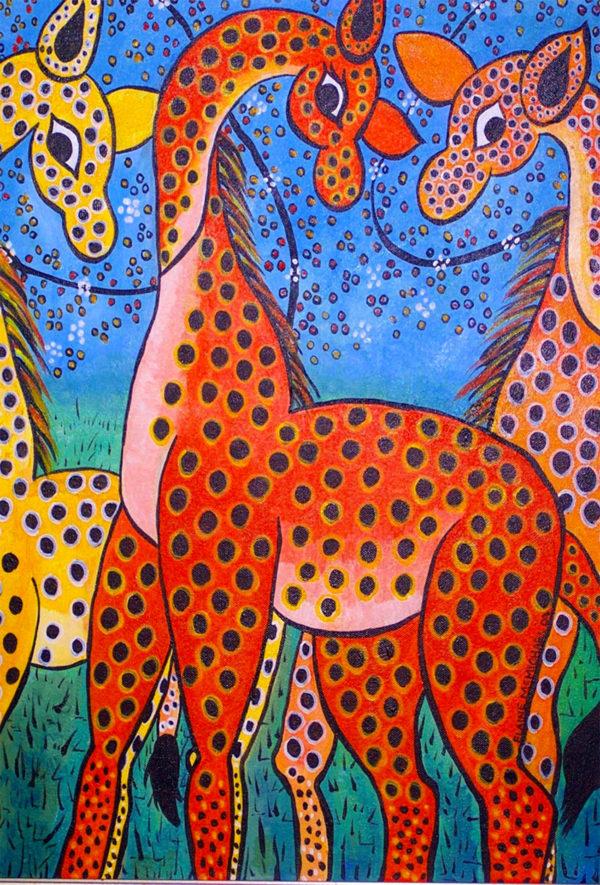 Three Orange Giraffes